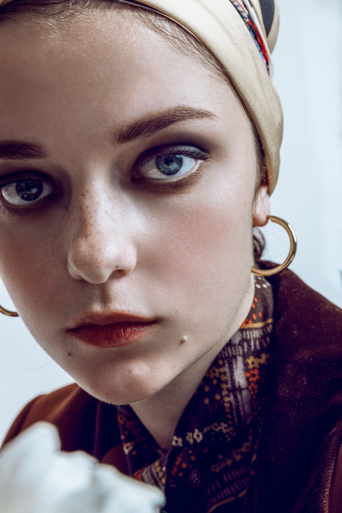 anmoda models tokyo alyona wearing headscarf and dlaw jewellery hoops photographed by ivana micic